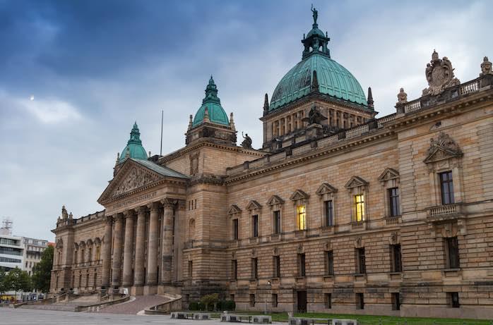 Blick auf Gerichtsgebäude in Leipzig